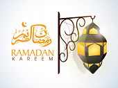 Arabic Islamic calligraphy of text Ramadan Kareem and illuminate stylish lamp hanging on floral deco
