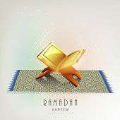 image of islamic religious holy book  - Beautiful greeting card design with Islamic holy book Quran Shareef on carpet for Ramadan Kareem - JPG