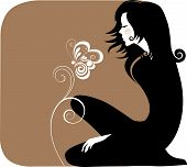 Silhouette Girl In Black With Flowers