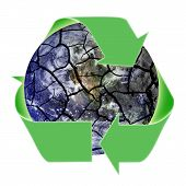 Recycling Symbol Over Fragile Planet. Elements of this image supplied by NASA.