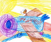 child drawing. dog on a plane