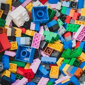 Detail Of Bricks At Lego Village In Milan, Italy