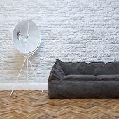 Modern Interior Design With Cozy Black Sofa And Lighting