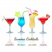 Summer cocktails set, isolated