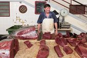 Butcher At The Fish Market Of Funchal, Madeira Island