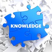 Knowledge Concept on Blue Puzzle.