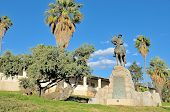 Equestrian Rider Monument And Alte Feste In Windhoek