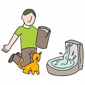 An image of a cat drinking fountain.