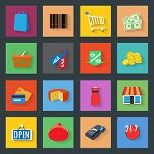 Market flat icons set