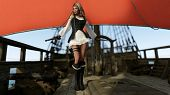 picture of pirate girl  - pirate girl on ship on red sail background - JPG
