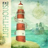 Vintage Lighthouse Poster - Vintage textured maritime poster with old lighthouse, sailing ship in th
