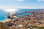 Alicante skyline aerial view