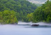 pic of dam  - Norris Dam State Park fog on the river - JPG