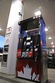 PORT COQUITLAM, CANADA - May 10, 2014 : One side of Petro Canada gas station on May 10, 2014. The co