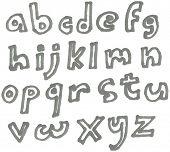 Vector lower case marker alphabet