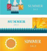 Summer Sale . Vintage banners/cards.