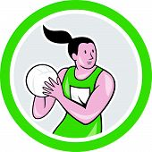 Netball Player Catching Ball Circle Cartoon