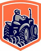 Farmer Driving Tractor Plowing Rear Shield Retro