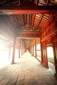 Red Wooden Hall Of Hue Citadel In Vietnam, Asia.