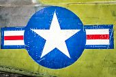 image of iron star  - Part of military airplane with United States Air Force sign - JPG