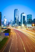 Hongkong Of Modern Landmark Buildings Backgrounds Highway Light Trails
