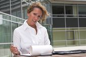 Businesswoman Working Outdoors poster