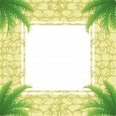 Palm leaves and abstract pattern