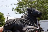 Side view of a monolithic stone statue of Nandi (the bull) Lord Shiva's vehicle