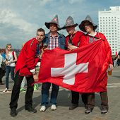 The ice hockey fans from Switzerland