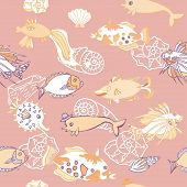 Seamless pattern  with   fishes and cockleshells