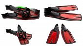 Set Of Red Swim Fins, Mask And Snorkel For Diving