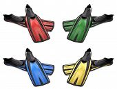 Set Of Multicolored Flippers For Diving With Water Drops