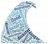 Word Cloud Illustration Related To Natural Disaster Flood