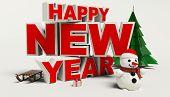 Happy New Year 3D Text, Snowman,sleg,gift,cristmas Tree,high Resolution