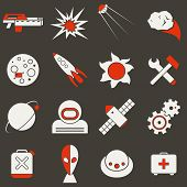 Icons Space In Flat Style