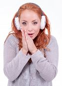 Beautiful Redhead Woman Wearing White Earmuffs