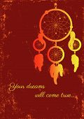 stock photo of dream-catcher  - image of dream catcher on grungy background - JPG