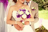 picture of romantic  - Happy bride and groom on their wedding - JPG