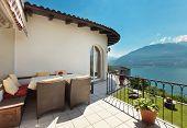 Nice terrace of a villa on the lake