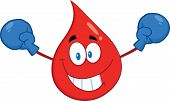 Red Blood Drop Cartoon Mascot Character With Boxing Gloves