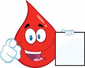 Red Blood Drop Cartoon Character Pointing With Finger And Holding A Blank Page