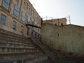 Staircase Leading From Prison Yard Into Old Prison Building On Alcatraz Island