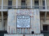 The Old Sign On Alcatraz Penitentiary Building