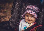 Baby boy in a pushchair