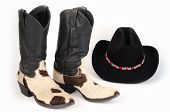 Cow Hide (Hair-On) Cowboy Boots and Cowboy Hat.