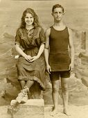CANADA - CIRCA 1900s: Vintage photo shows  portrait of a boy and girl - circus performers.