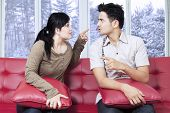 Couple Quarreling In Winter Day