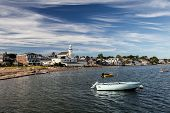 PROVINCETOWN-SEPTEMBER 14:  View with nice sky and ocean from pier in Provincetown, Cape Cod , Massachussets, USA on September  14, 2014.