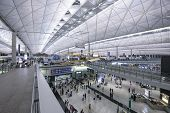 HONG KONG, CHINA - MAY 16, 2014: Entrance at Hong Kong International Airport. The airport is the world's busiest cargo gateway and one of the world's busiest passenger airports.
