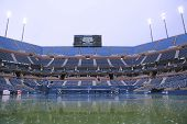 Arthur Ashe Stadium during rain delay at US Open 2014 at Billie Jean King National Tennis Center